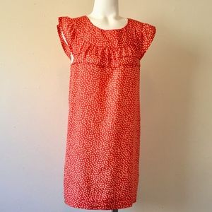 I LOVE H81 Coral Red Ruffled Geometric Tunic Dress